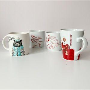 lot of four christmas themed mugs